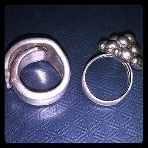 2x Heavy Sterling Silver Rings Spoons and Balloons